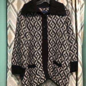 Karen Scott Womans Sweater Black White Collar Lg